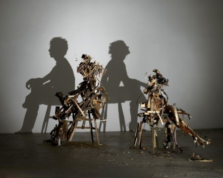 art sculptures wood recycled shadow construction illusion optical london artists exhibition installation light material use timber wood art
