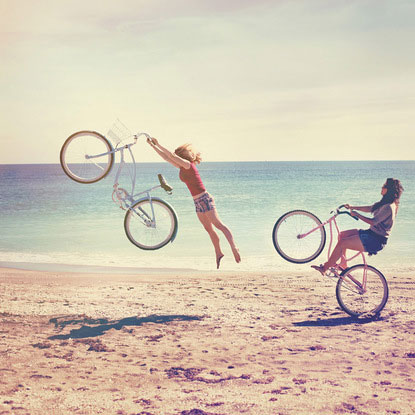 women's day bike beach funny vintage illusion optical surreal photography