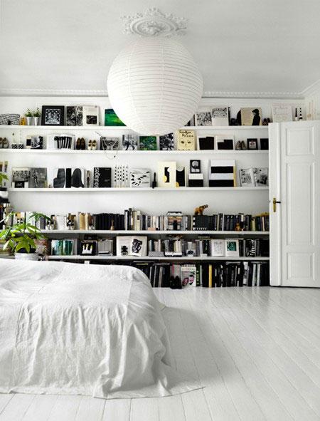 white interior design architecture bedroom studio contrast art artist working space apartment flat home living decor elle decoration style