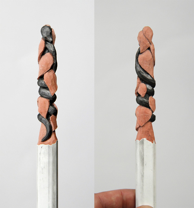 Tiny Carved lead pencil sculptures artist colored crayons animals alphabet letters carving sculpture
