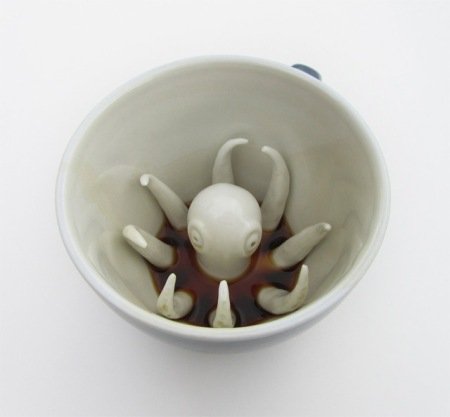 art coffee screature sculpture in cup surprise design product animal drinking base bottom suck shock cool fun design kitchen tableware coffee cup tea cup etsy