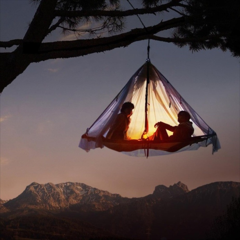 hanging tree camping tent sleeping bed night