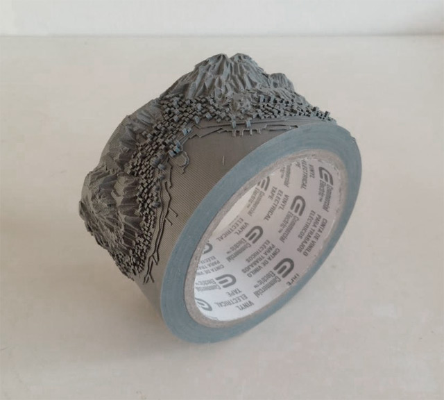 'Out of Disorder' - Topographical Maps Carved from Electrical Tape by Japanese artist Takahiro Iwasaki