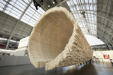 chinese artist art sculpture installation rice paper east west cotton thread hanging supsended sculpture threads delicate artwork photography