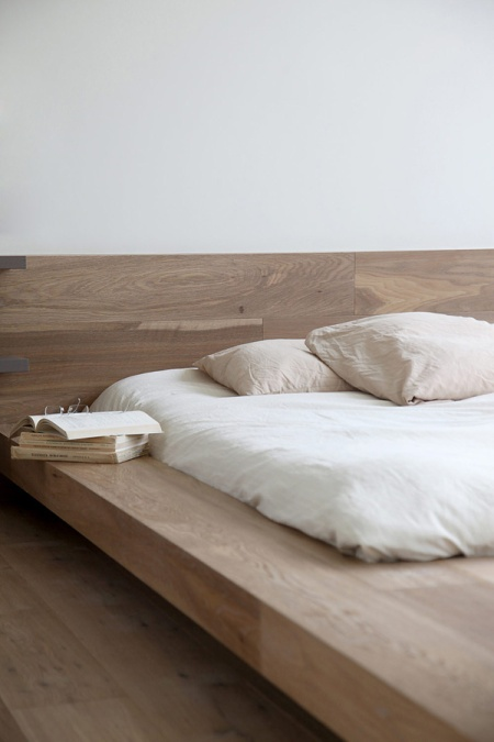 modern timber bed apartment interior design architecture flat living penthouse bedroom japanese minimalist wood timber furniture