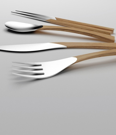 cutlery design cooking kitchen industrial product design minimalistic simple silver wood fork spoon knife