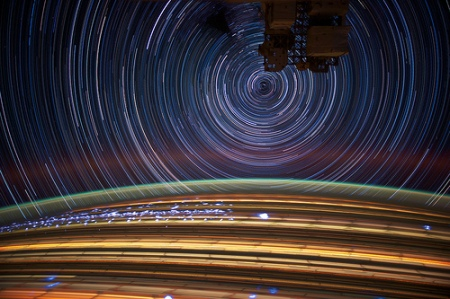 satellite photography night earth rotation stair trails long exposure nasa space iss space station photography