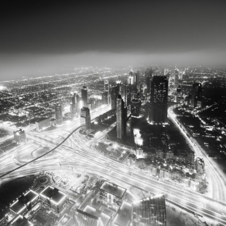Dubai Abu Dhabi black and white monochrome photography photo city towers skyscrapers skyline dust desert contrast art exposure camera