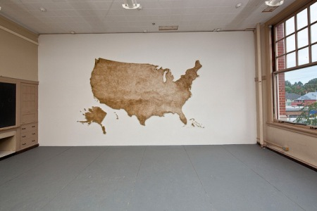matches art usa map installation scukpture green wooden matches stuck onto a wall