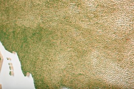 matches art usa map installation scukpture green wooden matches stuck onto a wall