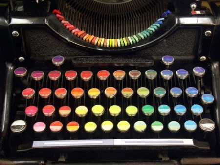 "Chromatic Typewriter - Washington-based painter Tyree Callahan modified a 1937 Underwood Standard typewriter, replacing the letters and keys with color pads and hued labels to create a functional ""painting"" device."
