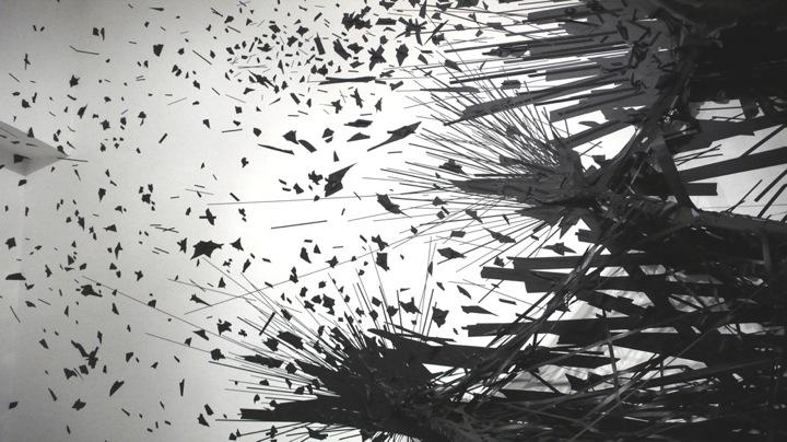 3D tape drawing explodes sculpture installation walls column gallery black duck tape art artist