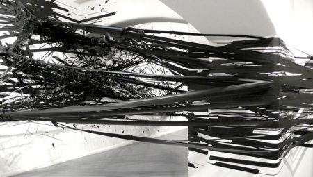 3D tape drawing explodes sculpture installation walls column gallery black duck tape art artist
