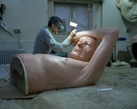 Series of Hyperrealistic Sculptures by artist Ron Mueck. The works in the realm of the ultra-real where he spends hundreds of hours perfecting the shape of the human form, the appropriate color of skin, and the most realistic hair texture.
