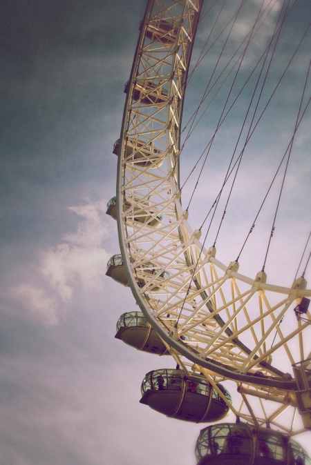 'The London Eye' - a giant 135 metres (443 ft) tall Ferris wheel sitting on the banks of the River Thames in London, England.