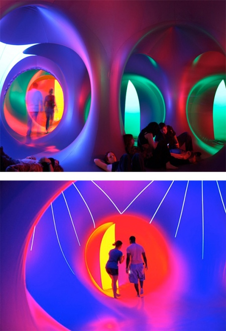 Series of photos from the giant Mirazozo Luminarium, a giant sculptural installation that people enter to be moved to a sense of wonder at the beauty of light and color, art, architecture, sculpture, light, neon light, illumination, installation, Sydney opera