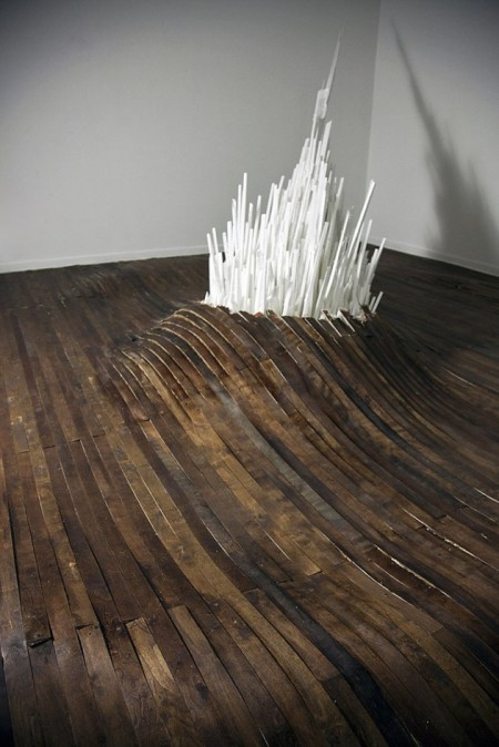 'Points of Contention' - art installation by American artist Jonathan Latiano at the School 33 Art Center in Baltimore, Maryland 2011 using wood, plastic, acrylic, styrofoam, glass, plexiglass and salt.