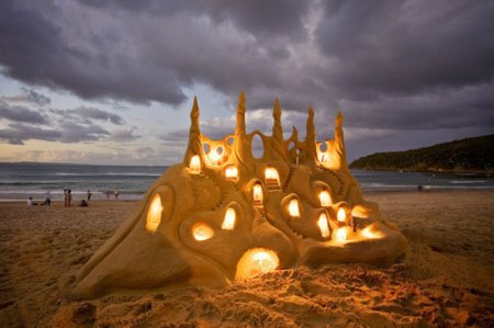 sand castle light art sculpture art photography beach