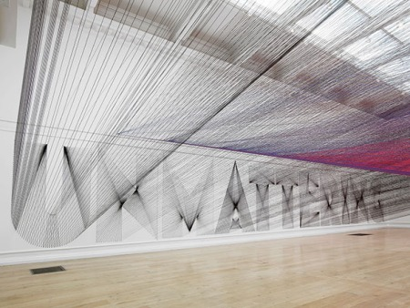 tthread-installation-05 by californian artist Pae white, colourful threads are criss crossing, cloud of threads, amazing art, innovative, 3d art, projections, thread typography, design, inspirations