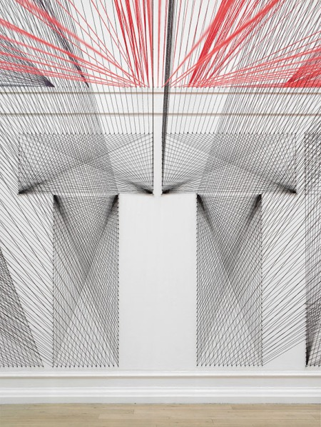 thread-installation-05 by californian artist Pae white, colourful threads are criss crossing, cloud of threads, amazing art, innovative, 3d art, projections, thread typography, design, inspirations