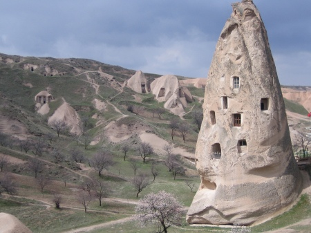 'Cappadocia' - This rocky landscape is honeycombed with networks of ancient underground settlements and outstanding examples of Byzantine art as well as its troglodyte dwellings carved out of the rock and cities dug out into underground, in the region of Central Anatolia, largely in Nevşehir Province, Turkey