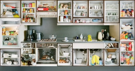 Kitchen Portraits' by Dutch photographer Erik Klein Wolterink, who opened cupboards, drawers, fridges and ovens and photographed each piece separately and reconstructed the images again to one unit.