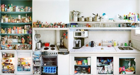 Kitchen Portraits by Dutch photographer Erik Klein Wolterink, who opened cupboards, drawers, fridges and ovens and photographed each piece separately and reconstructed the images again to one unit.