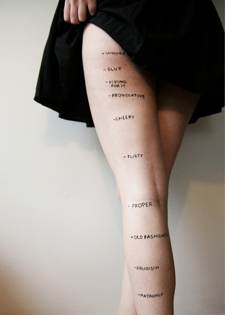 slut indicator - hem level diagram Prudish. Flirty. Whore. Proper. Cheeky. Slut. These are just a few of the words that could be used to describe a woman's sexual behavior based on her appearance alone, and 18-year-old college freshman Rosea Lake chose to display them starkly -- on a young woman's legs in a photo that has since gone viral.