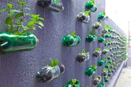 vertical-3 A transformation of an exterior wall in a small house outside Sao Paolo, by Rosenbaum. The wall has changed into a small vertical garden where series of cascading plastic bottles are hanging through strings.The plastic containers have been reused as planters filled with soil for different kinds of flowers, and medicinal herbs.