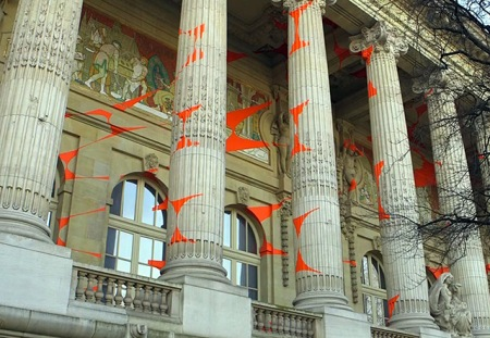 Series of photos from the large scale artwork called 'Projections', that was exhibited at the Grand Palais in Paris, by the Swiss artist Felice Varini.