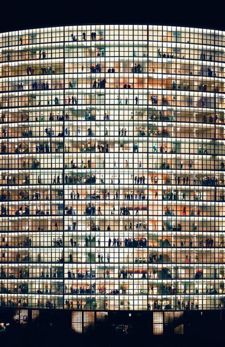 'May Day V' by Andreas Gursky /  Andreas Gursky (1955) is a German photographer known for his enormous architecture and landscape color photographs, often employing a high point of view. Though every window opens up to different apartments, different people, this picture indicates in its repetition that there is a great similarity in the way human beings shape their lives.