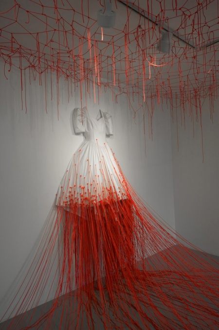 Photos from the installation piece 'Dialogue with Absence' that was exhibited in Kenji Tangi Gallery in Tokyo, by artist Chiharu Shiota