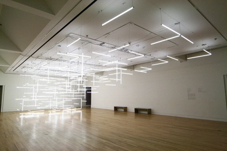 A Geometric Labyrinth of 200 Fluorescent Lights at Frye Art Museum