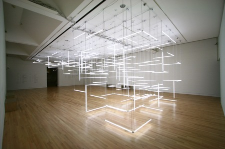 A Geometric Labyrinth of 200 Fluorescent Lights at Frye Art Museum (4)