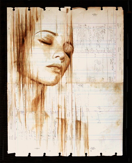 An amazing series of portraits painted with coffee onto old, used ledger paper by artist Micheal Aaron Williams