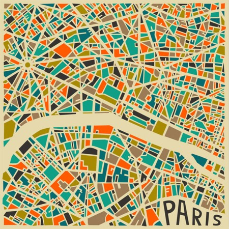 A series of abstract graphic city maps portraying the world's most famous cities: Los Angeles, London, Milan, and more, by self-taught travelling Canadian artist 'Jazzberry Blue' who uses a combination of bold color palettes and geometric figures to give each map an abstract flare of its own