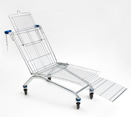 American-born Frankfurt-based artist Mike Bouchet takes the common shopping cart and reapproriates it, transforming it into an object of leisure and design. Bouchet alters the frames of zinc plated steel carts, cutting off the sides of the buggies and modifying their front and back panels by bending them backwards or forwards to achieve certain angles to create lawn chairs / sun loungers. The carts' childseats are remounted to serve as headrests, allowing one to readjust it to a comfortable height. there is a slight spring to the design, reinforced at major stress points in order to retain structural integrity over time and use. The result is a set of five seating objects, each outfitted with an outdoor, weatherproof, polyester foam cushion exhibiting different patterns. (via designboom)