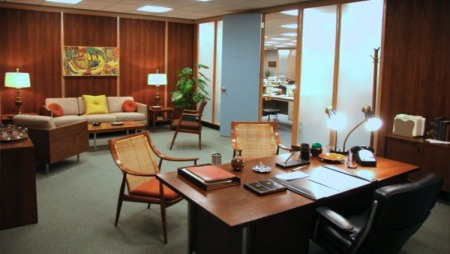 Photos showing the impeccably styled interior in 60s modern furniture of the 'Sterling Cooper Draper Pryce' advertising agency, featured in the famous series 'Mad Men'.