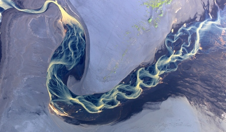 Stunning landscape aerial photography of the volcanic rivers of Iceland, by Andre Ermolaev