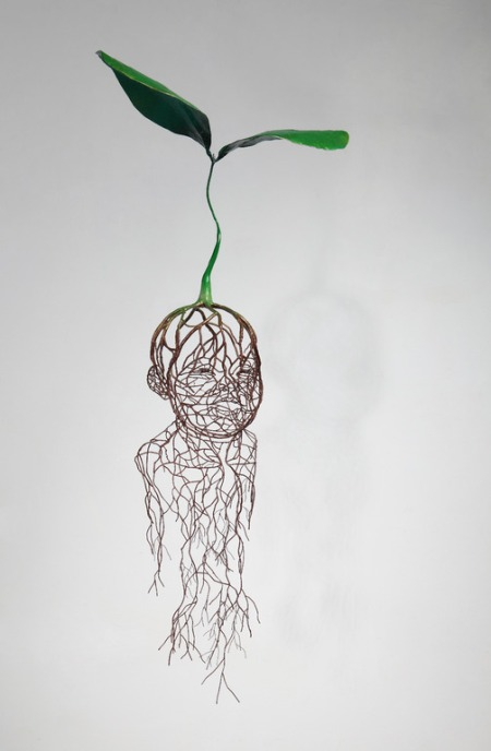 From his series 'Drawn by Life' a set of great metal sculpture forming root systems depicting human forms and faces by South Korean artist Kim Sun Hyuk