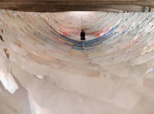 Suspended Shirt Installations by Finish artist and environmentalist Kaarina Kaikkonen who uses hundreds of second-hand shirts to create her often site specific installations.