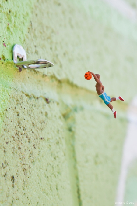 The 'Little People Project' started in 2006. It involves the remodelling and painting of miniature model train set characters, which I then place, photograph and leave on the street. It is both a street art installation project and a photography project. The street-based side of my work plays with the notion of surprise and I aim to encourage city-dwellers to be more aware of their surroundings. The scenes I set up, more evident through the photography and the titles I give these scenes aim to reflect the loneliness and melancholy of living in a big city, almost being lost and overwhelmed. But underneath this, there is always some humour. I want people to be able to empathise with the tiny people in my works.