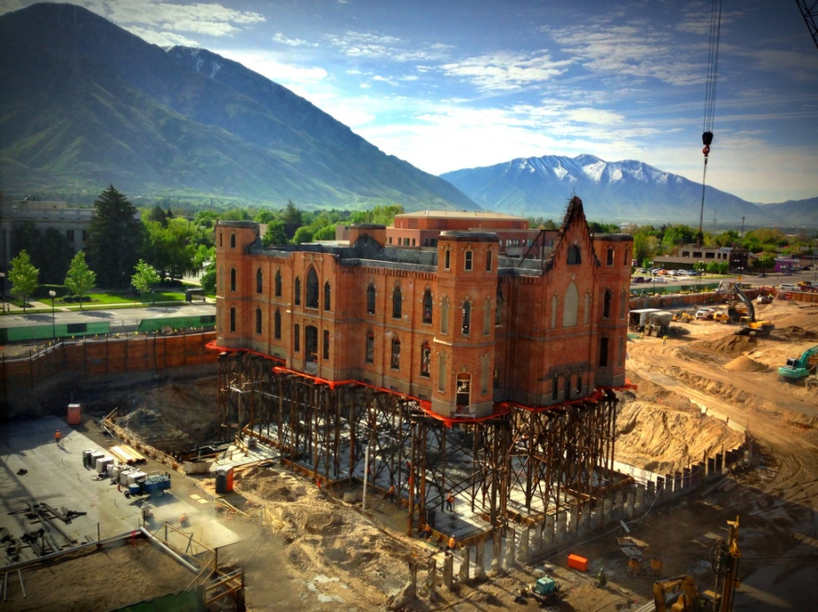 The levitating church - 130-year-old exterior of the Provo Tabernacle, Provo, Utah, USA is raised on stilts as work begins to restore it into a Mormon temple after a devastating fire in December 2010 almost destroyed i