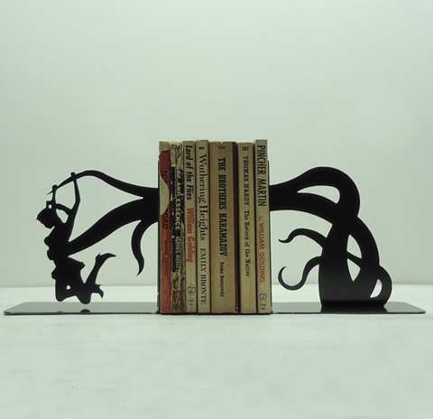 Cool, arty and fun metal bookends made in black steel by Knob Creek Metal Arts