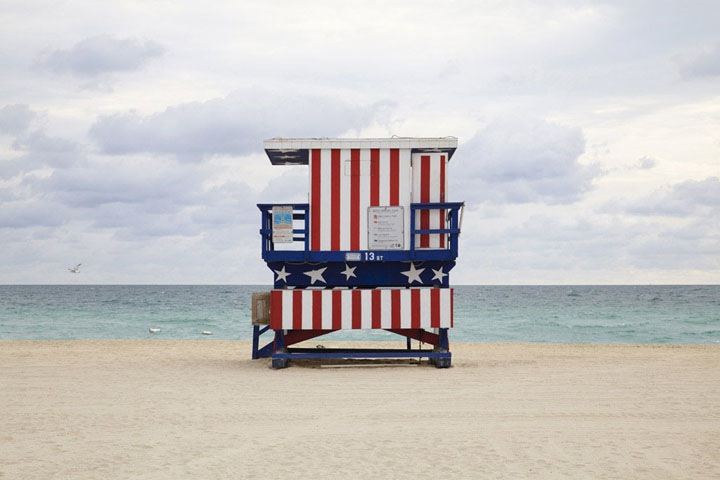 "'Miami Houses' -  vibrant and colorful series by French photographer Léo Caillard who captures these beautiful lifeguard stands sprinkled along Miami Beach. Words from the photographer:      ""Referencing the work of the Becher, of Düsseldorfschool of visual art of the 70's. Through repetition of a strict formal composition, the initila understanding of the function of the subject gradually fades as an analysis of the form of the subject. The repetition creates an inevitable comparison between images, thus informing the viewer as to the multiplicity of differences."""