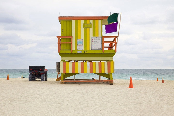 "'Miami Houses' -  vibrant and colorful series by French photographer Léo Caillard who captures these beautiful lifeguard stands sprinkled along Miami Beach. Words from the photographer:      ""Referencing the work of the Becher, of Düsseldorfschool of visual art of the 70's. Through repetition of a strict formal composition, the initila understanding of the function of the subject gradually fades as an analysis of the form of the subject. The repetition creates an inevitable comparison between images, thus informing the viewer as to the multiplicity of differences.""-5"