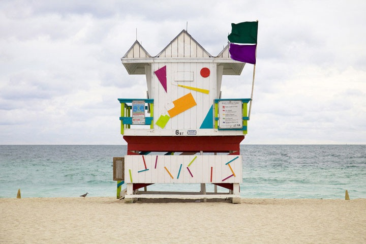"'Miami Houses' -  vibrant and colorful series by French photographer Léo Caillard who captures these beautiful lifeguard stands sprinkled along Miami Beach. Words from the photographer:      ""Referencing the work of the Becher, of Düsseldorfschool of visual art of the 70's. Through repetition of a strict formal composition, the initila understanding of the function of the subject gradually fades as an analysis of the form of the subject. The repetition creates an inevitable comparison between images, thus informing the viewer as to the multiplicity of differences.""-6"