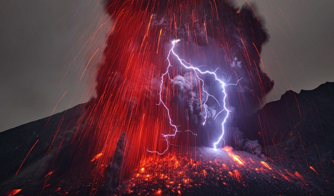 Remarkable and mysterious photographs of volcanic lightning, captured by German volcano enthusiast and photographer Martin Rietze, who shot these images of lightning bolts blasting out of the Japanese Sakurajima Volcano.   The volcano was part of the Osumi Peninsula until 1914. Today, it's one of the most active volcanos in Asia. Rietze captured lighting erupting from the billowing smoke and ash--an unlikely phenomenon that NASA says is not yet fully understood.