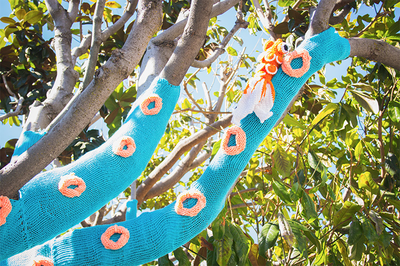 A Yarn Tree Squid - by sisters Jill Watt and Lorna Watt who wrapped this magnolia tree in downtown San Mateo, USA with more than four miles of yarn.  Read more about how they did it on their respective blogs Knits for Life and Dapper Toad.