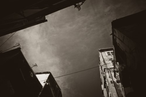 Monochrome Photographs of the Skyline of the old town of Kerkyra -  Corfu, Greece